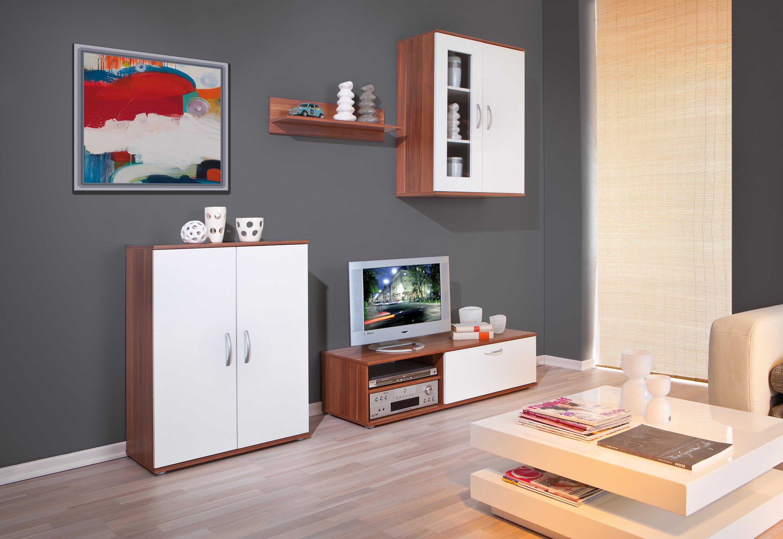 wohnwand anbauwand schrankwand wohnzimmer vitrine kommode walnuss wei angebot. Black Bedroom Furniture Sets. Home Design Ideas