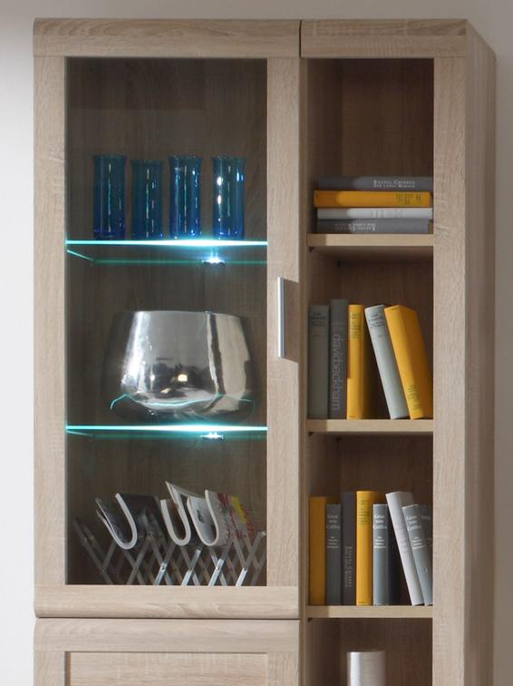 vitrine vitrinenschrank hochschrank schrank wandschrank h193cm sonoma eiche ebay. Black Bedroom Furniture Sets. Home Design Ideas