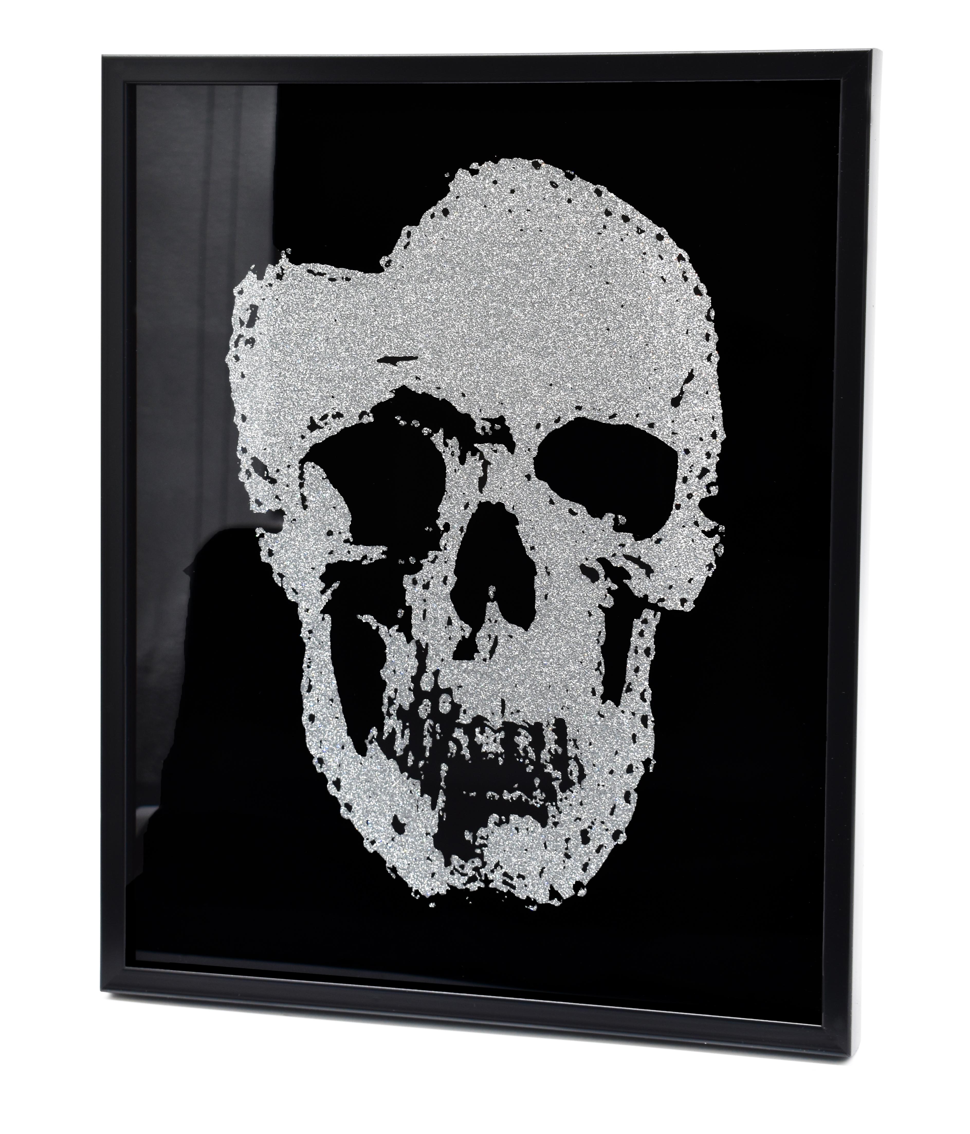 Wandbild Totenkopf Glitzer 50x40cm Glasbild Wandbild Skull Schwarz Deko
